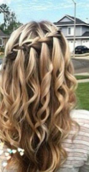 Waterfall Braid With Curls Forr Homecoming Hair Pinterest Hair