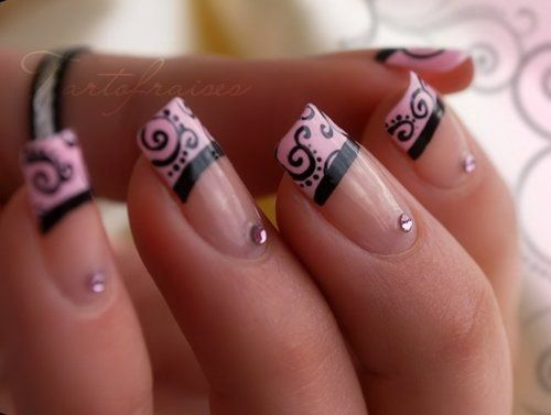 Pink tips with damask design and crystals, pretty!