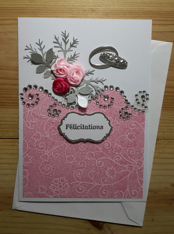 Carte de félicitations mariage rose et argent Tarjetas