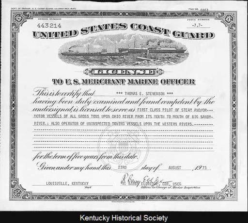 u.s. coast guard merchant marine license to thomas e. stevenson