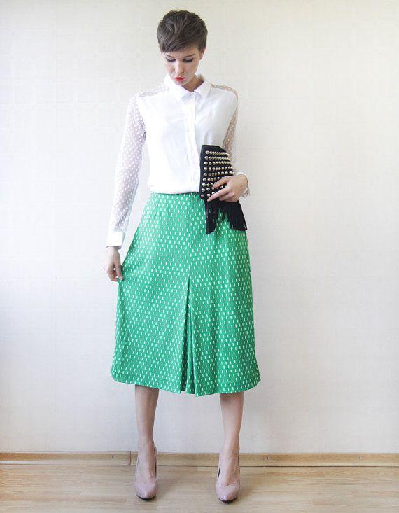 Green white front pleat A-line knee length midi skirt M