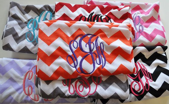 Monogrammed Bridesmaid Gift Set of 6 Scarves by ChickSprings, $150.00