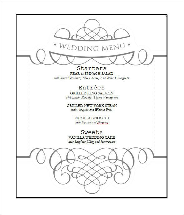 Free Wedding Menu Template  Wedding    Wedding Menu