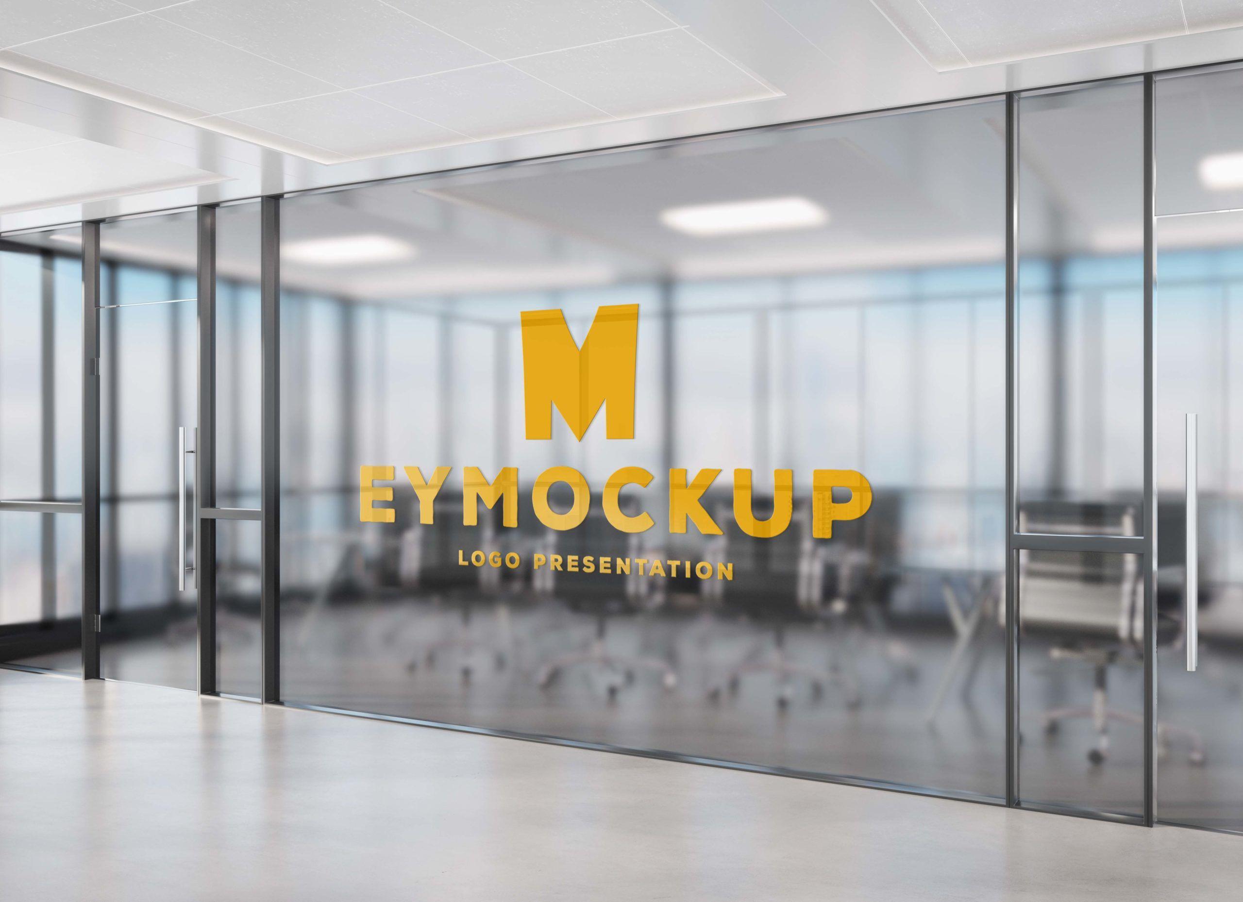 Transparent Office Wall Logo Free Psd Mockup Free Logo Mockup Mockup Free Psd Logo Mockup