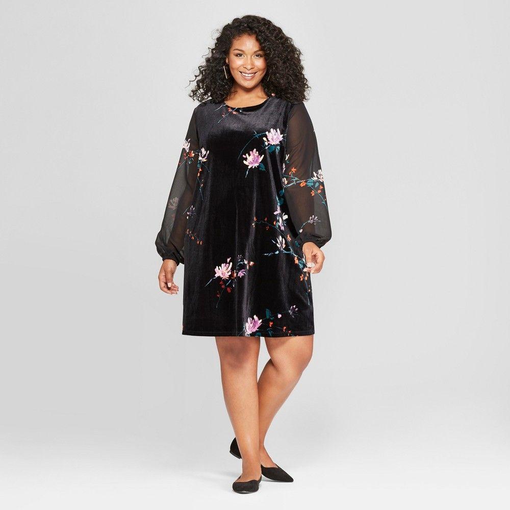 Women S Plus Size Floral Print Chiffon Sleeve Velour Dress Ava Viv Black 1x In 2021 Women Dresses Classy Black Dresses Classy Plus Size Maxi Dresses [ 1000 x 1000 Pixel ]