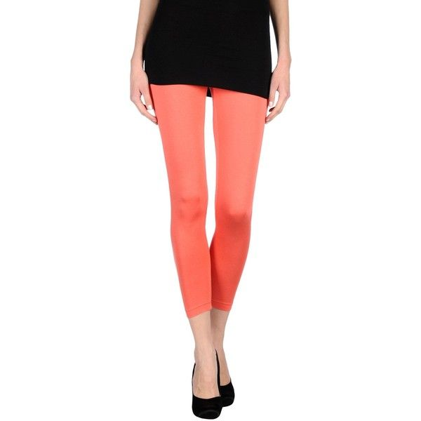 Annarita N. Leggings ($84) ❤ liked on Polyvore featuring pants, leggings, coral, jersey leggings, red pants, jersey pants, leggings pants and red trousers