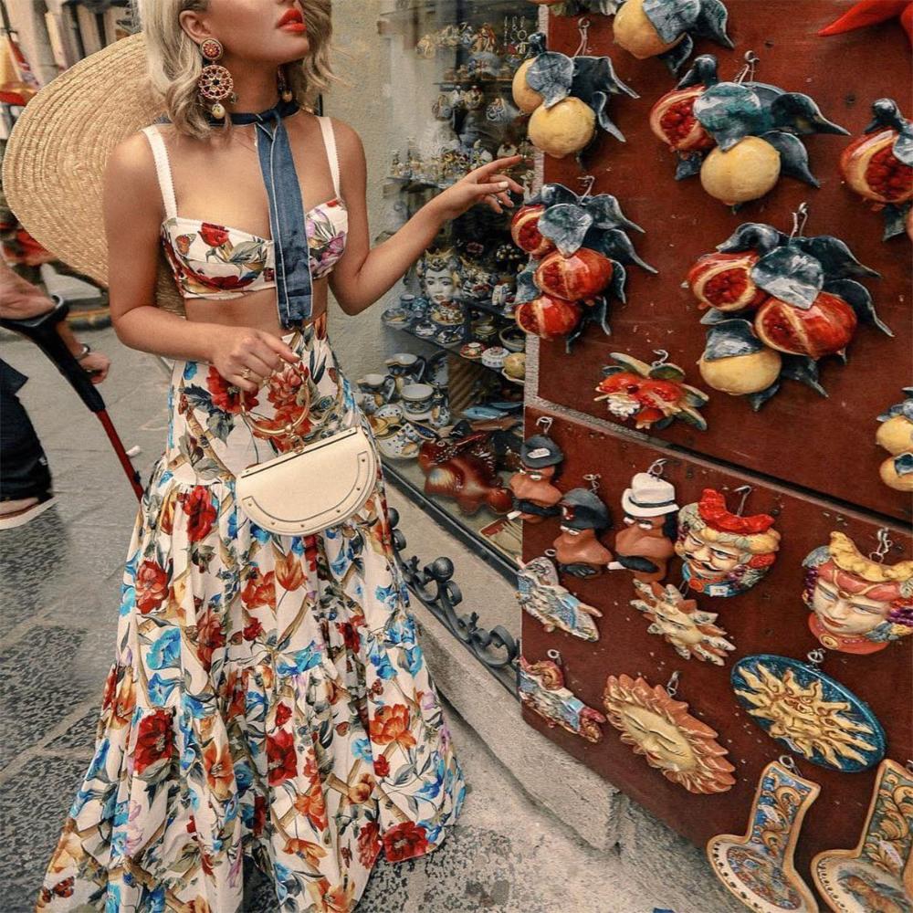 Floral Print Women Summer Dress Sleeveless 2 Piece Set Bohemian Dresses Holiday Vestidos Chic Plus Size Beach Dress Rode Beach Maxi Dress Two Piece Floral Dress Plus Size Beach Dresses [ 1000 x 1000 Pixel ]