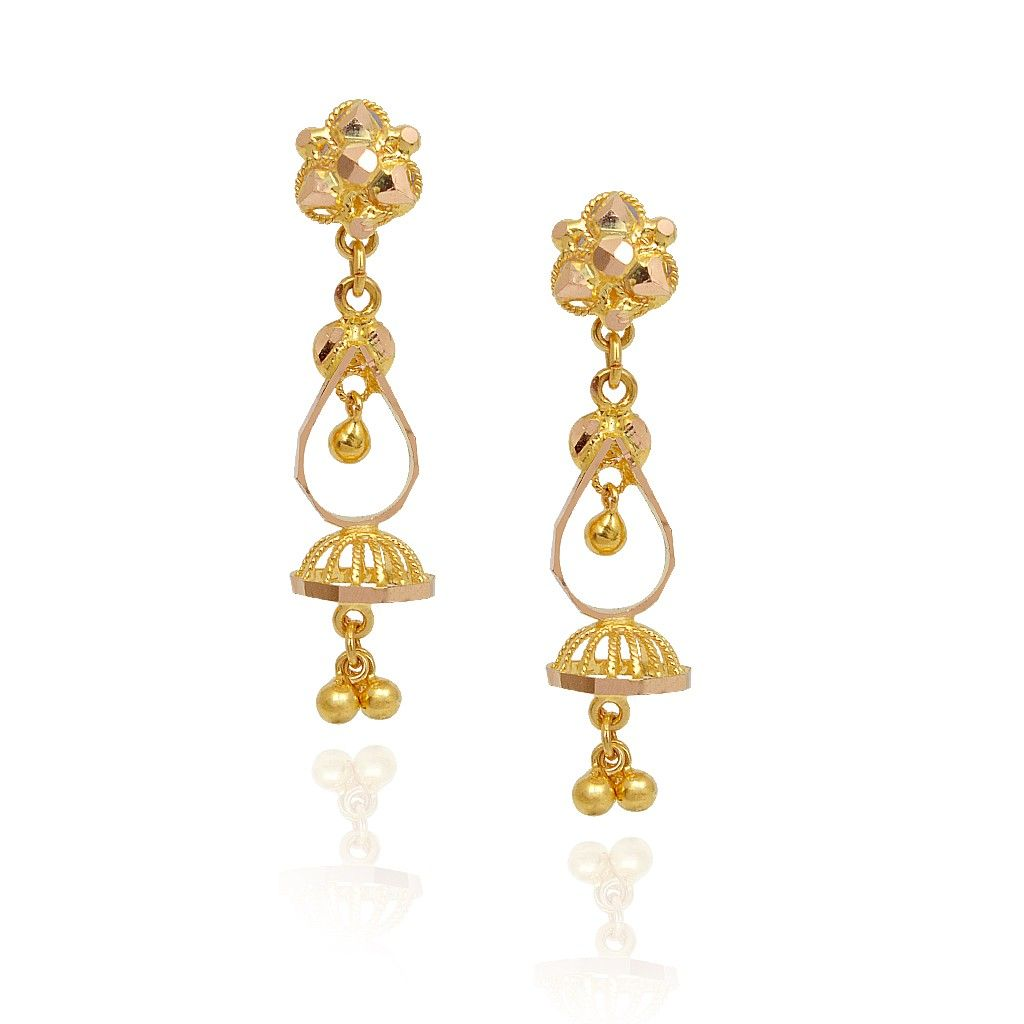 Jhumki Earrings Dancing With Hanging Ball Gold Jimmiki Grt Jewellers