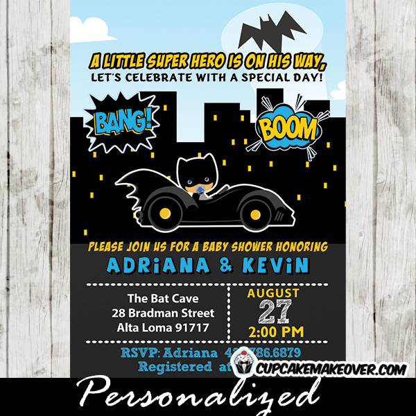 Adorable Batman Baby Shower Invitations In Yellow Black And Blue Featuring The Cutest Bat Boy Equipped With His Favorite Pacifier Zooming On Way