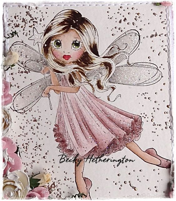 Fairy with balloon rubber stamp