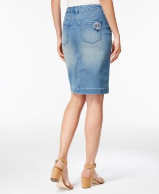 1acd838e29 Style & Co Floral-Embroidered Denim Skirt, Only at Macy's - Blue 12 ...
