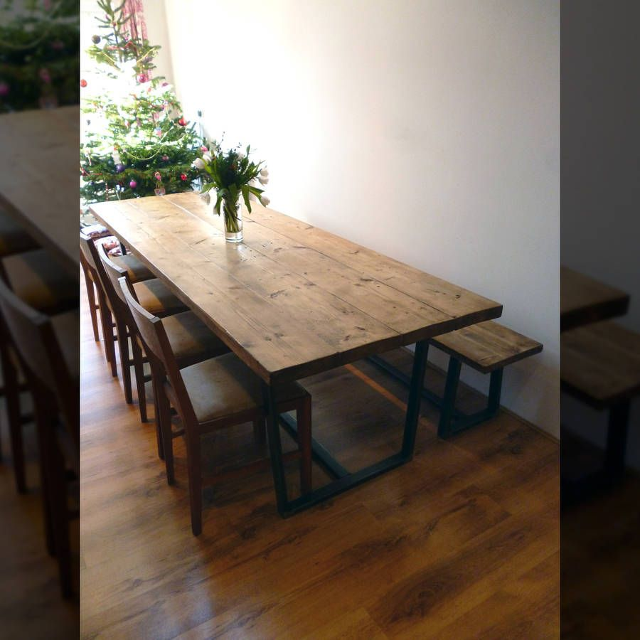 'Madison' Reclaimed Wood Dining Table With Steel Legs
