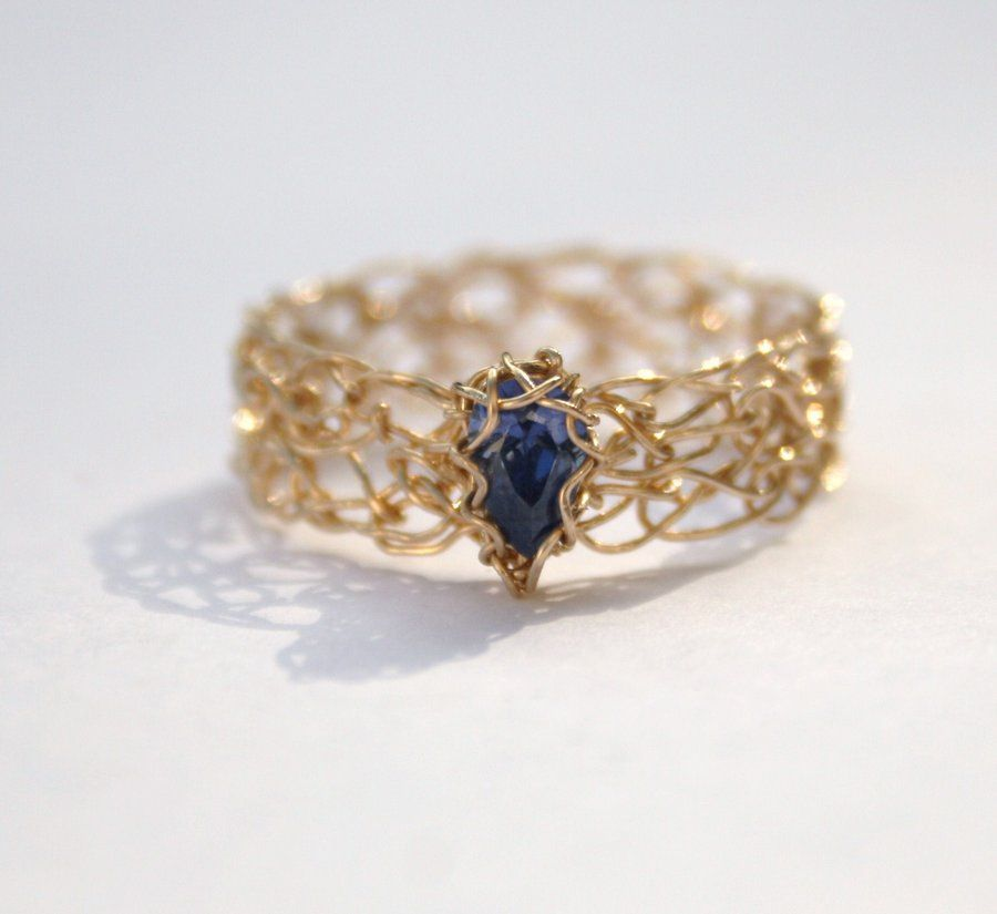 Tanzanite CZ Gold Crochet Ring by WrappedbyDesign.deviantart.com on ...