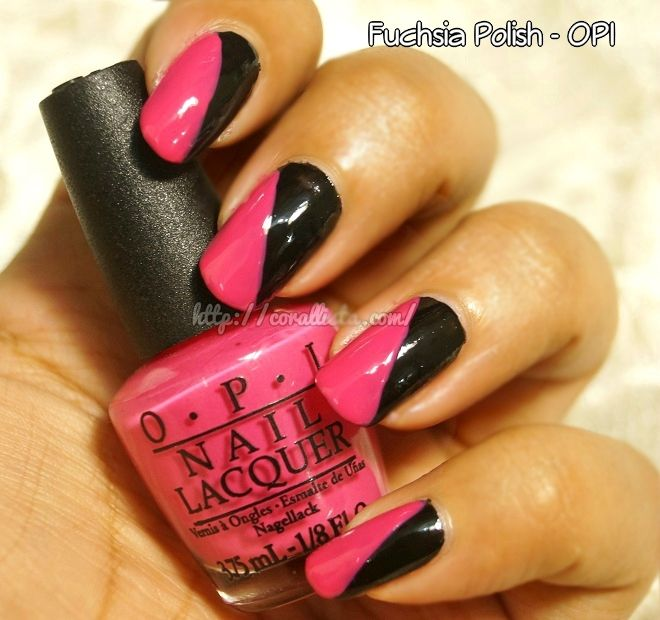 Pink and black nail art choice image nail art and nail design ideas black pink nail art with a dash of denim black pinterest black pink nail art with prinsesfo Image collections