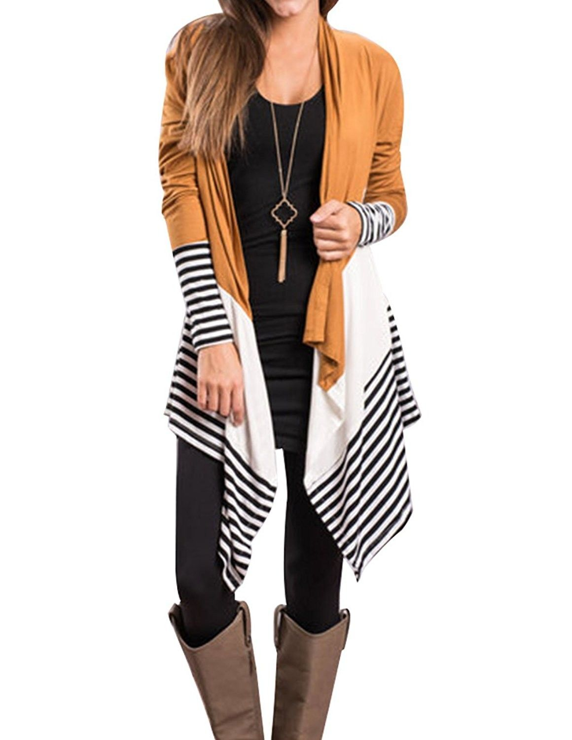 988fb7b82 Womens Long Sleeve Kimono Cardigan Draped Open Fornt Tops Polyester ...