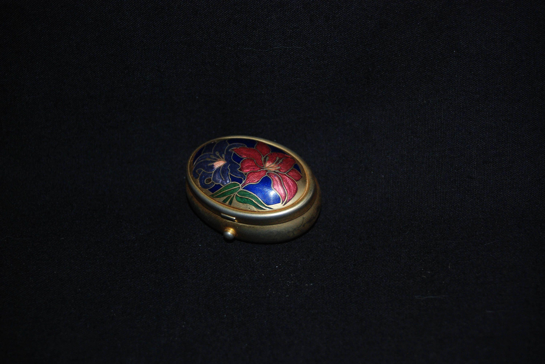 Small Pill Boxes Decorative Cloisonne Flower Pill Box  Vintage Decorative Enamel Floral Gold
