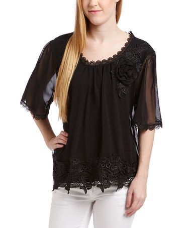 This Black Lace Scoop Neck Silk-Blend Top by Pretty Angel is perfect! #zulilyfinds