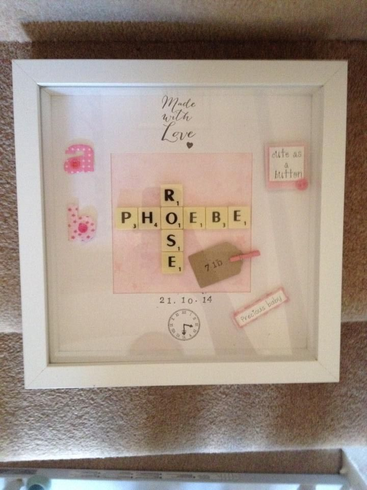 Birth Black Or White Frame 23 X 23 Cms Square 35 00 Fully Personalised Scrabble Frame Birth Gift Scrabble Art