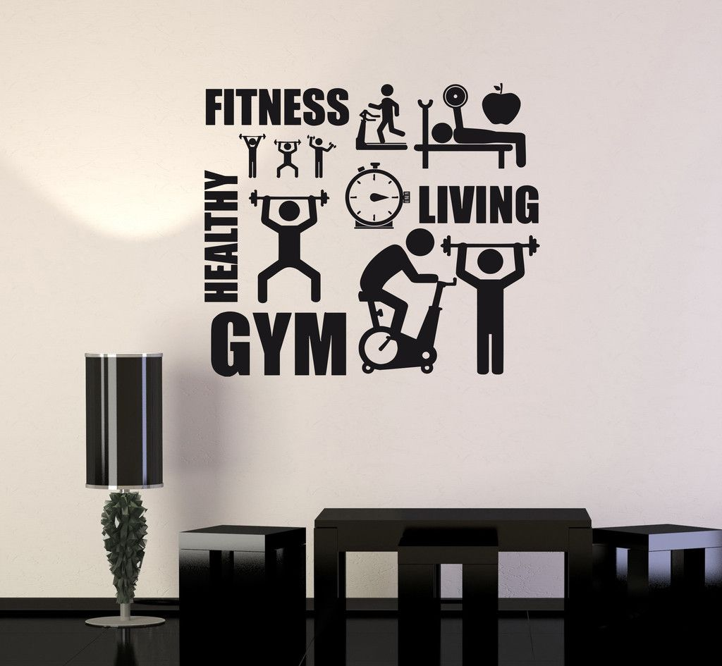 Gym Wall Design: Vinyl Decal Fitness Healthy Lifestyle Sport Motivation