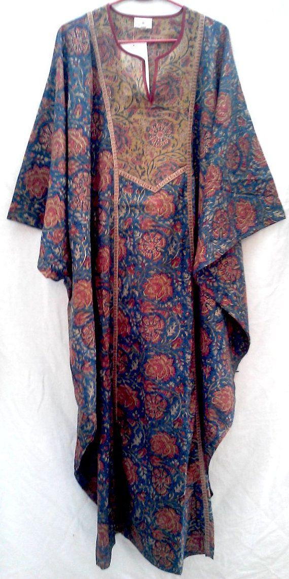39e434ffd28 Rare Wonderful Boho Chic Anokhi Tunic style Indian Floral Hand block Print  Long Cotton Maxi Dress Kaftan One Size