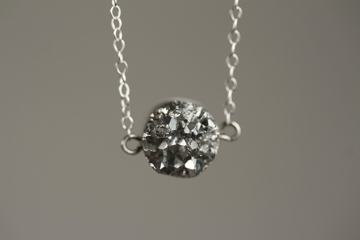 Small drusy agate silver nugget necklace on sterling chain metallic