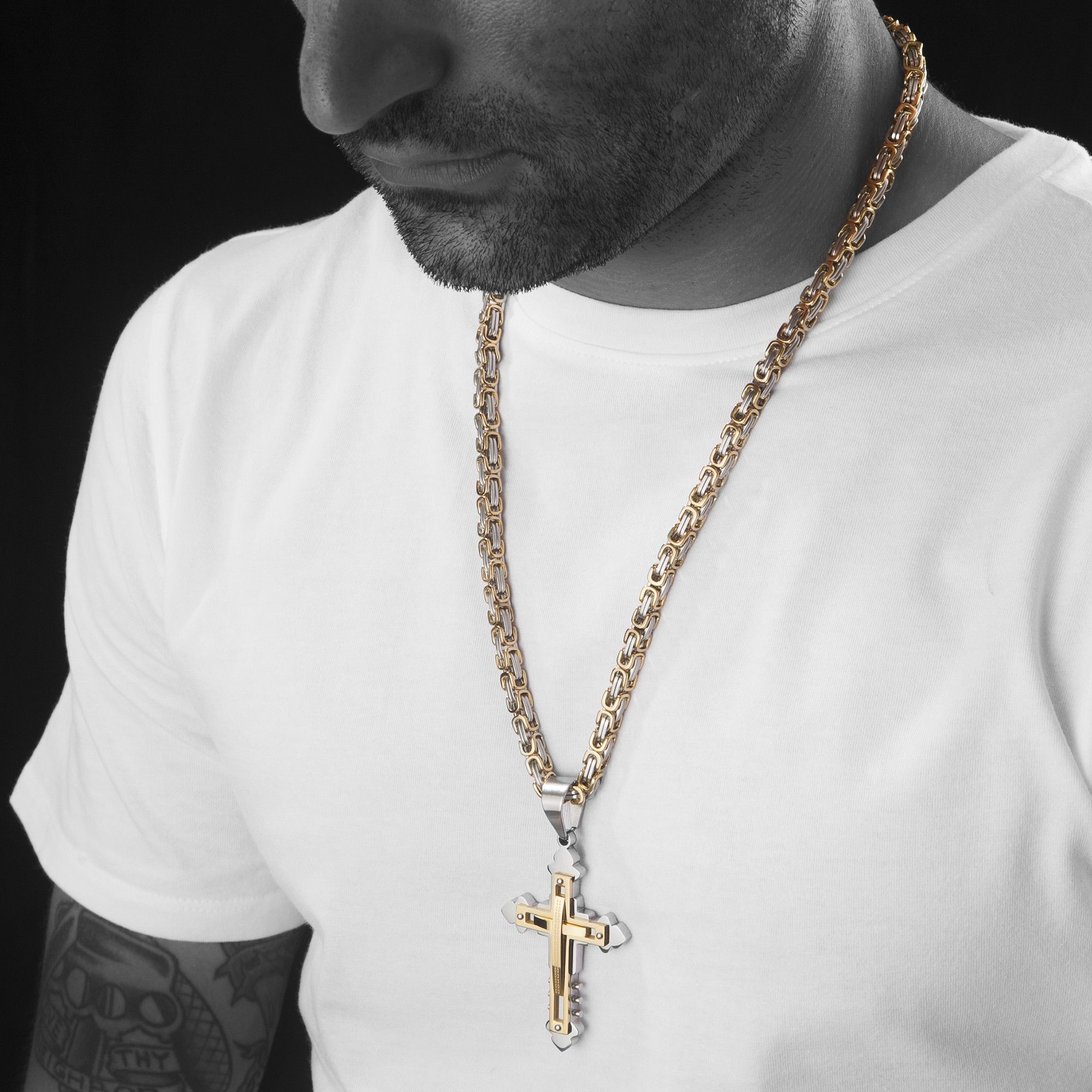 Mens Stainless Steel Gold Silver Byzantine Chain Necklace Cross