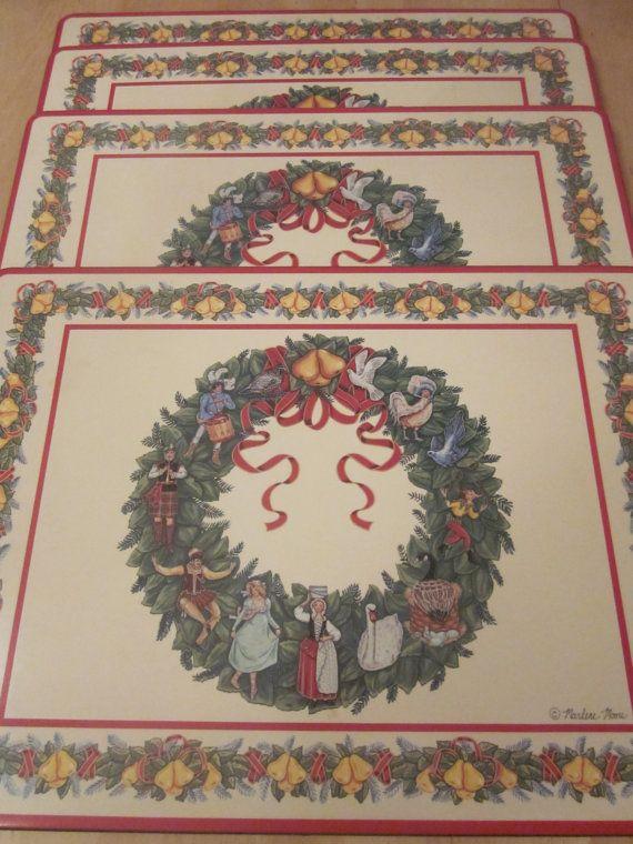 Placemats Vintage Christmas Dutch Place Mats Cork Marlene Etsy Vintage Christmas Placemats Vintage