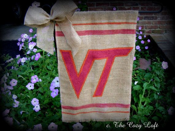 VT Virginia Tech Hokies Burlap Garden Flag VA Art Painting Door/Wall  Hanging Maroon