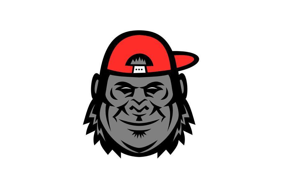 Gorilla Wearing Cap Mascot Retro Illustration Icon Illustration Art Prints