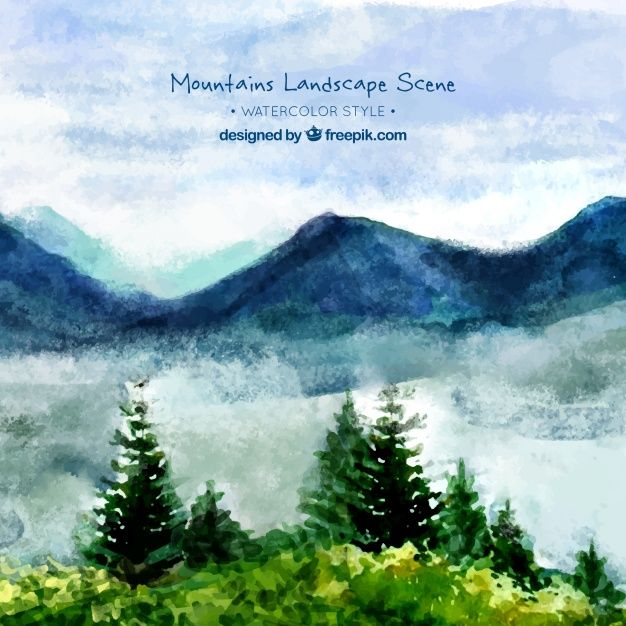 Download Watercolor Landscape Background With Mountains And Pines