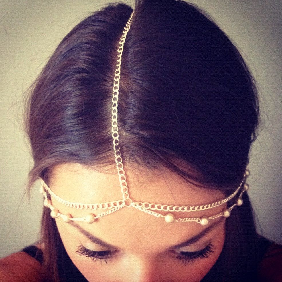 Items similar to Champagne head chain, head chain, fashion jewelry, bridal head chain, boho jewelry, summer jewelry on Etsy