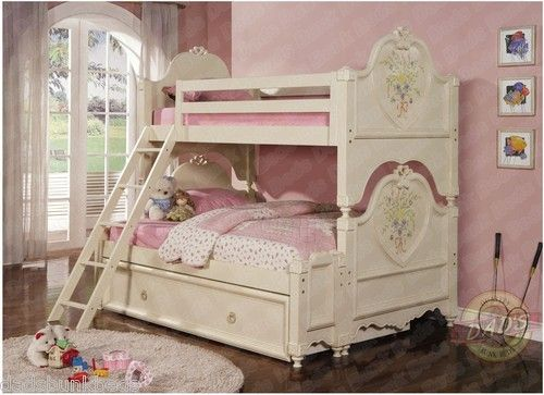 Princess Twin Over Full Bunk Bed Soft White Cream Finish Bunk Bed Designs Girls Twin Bed Bunk Beds For Sale