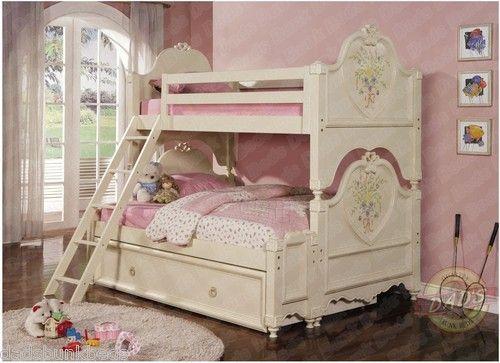 Princess Twin Over Full Bunk Bed Soft White Cream Finish Ebay