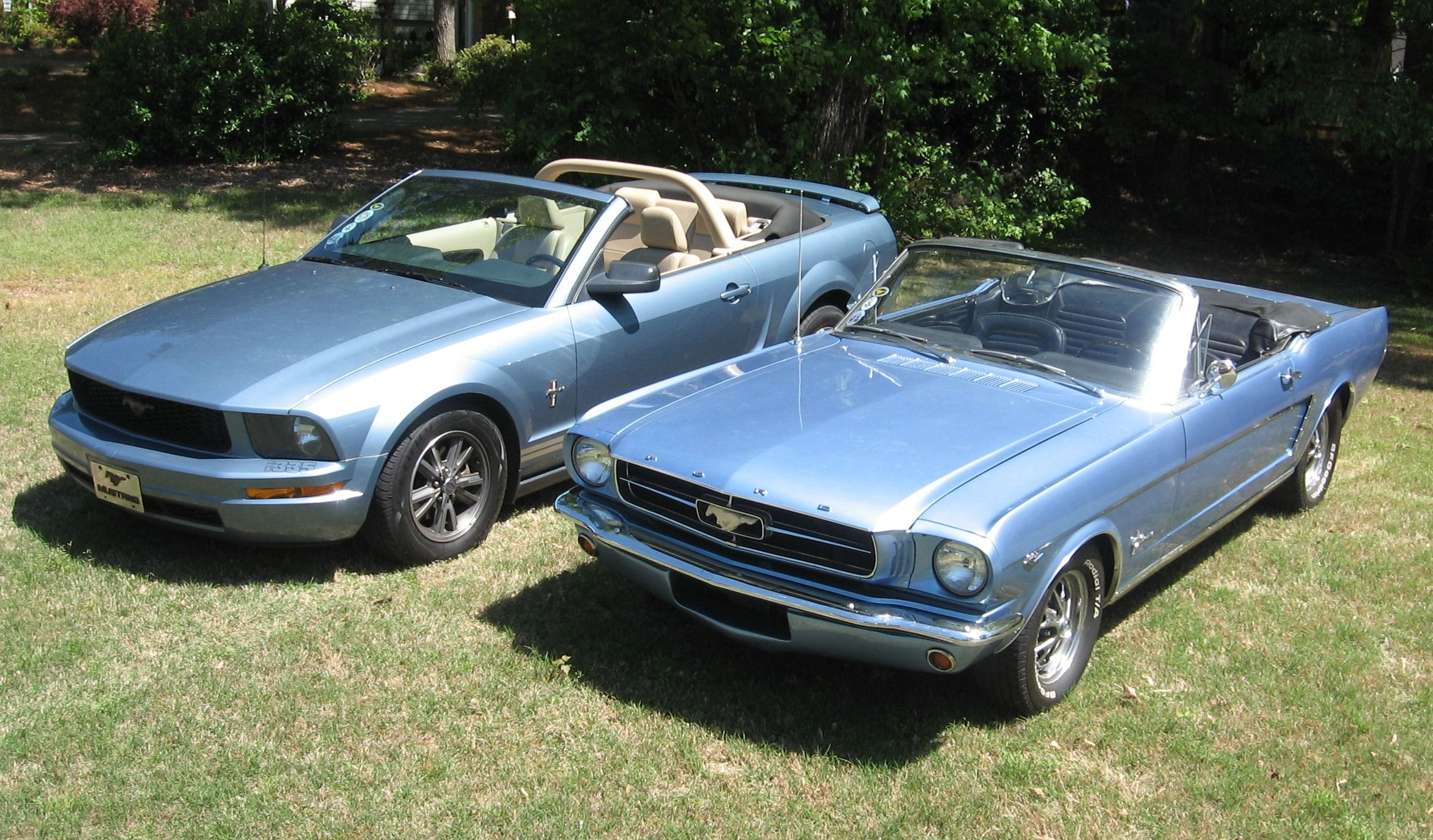 My 65 And 05 Mustang Convertibles Silver Blue And Windveil Blue 05 Mustang Mustang Convertible Mustang