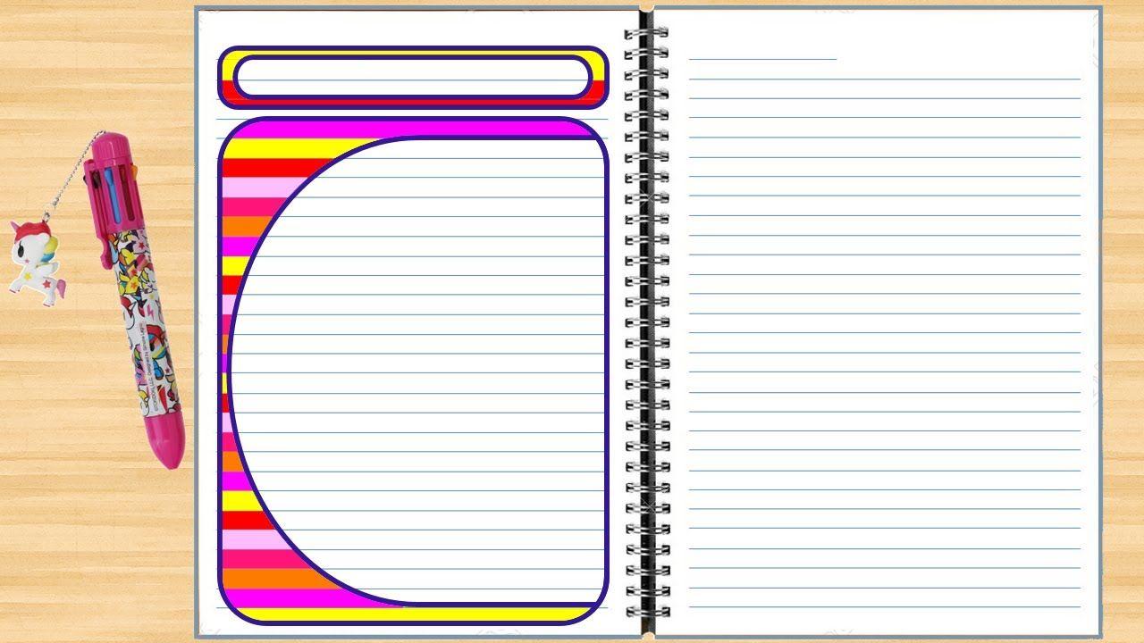 تزيين الدفاتر المدرسية من الداخل للبنات سهل خطوة بخطوة تزين الدفتر بط Borders For Paper Border Design Simple Borders