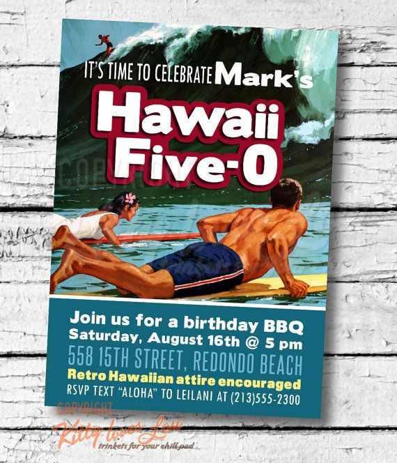 Printable hawaii five 0 50th birthday party invitation digital pdf printable hawaii five 0 50th birthday party invitation digital pdf anniversary fiftieth retro luau surfer hawaiian bbq invite 5 x 7 diy filmwisefo
