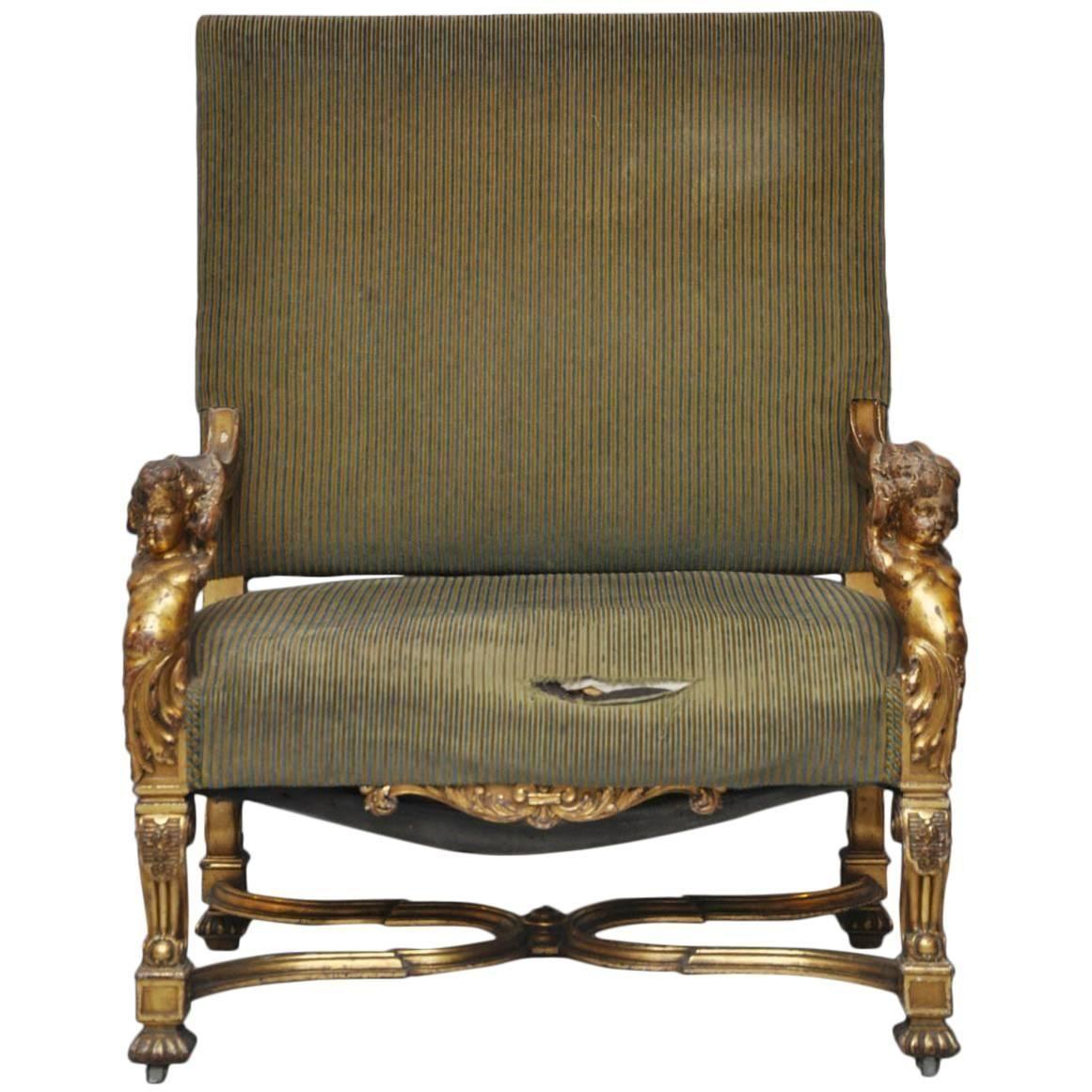 Italian Louis XIV Style Putti Gilt Chair  10stdibs.com  Chair