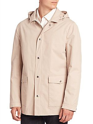 Brunello Cucinelli Solid Hooded Jacket - Oyster - Size 48 (38)