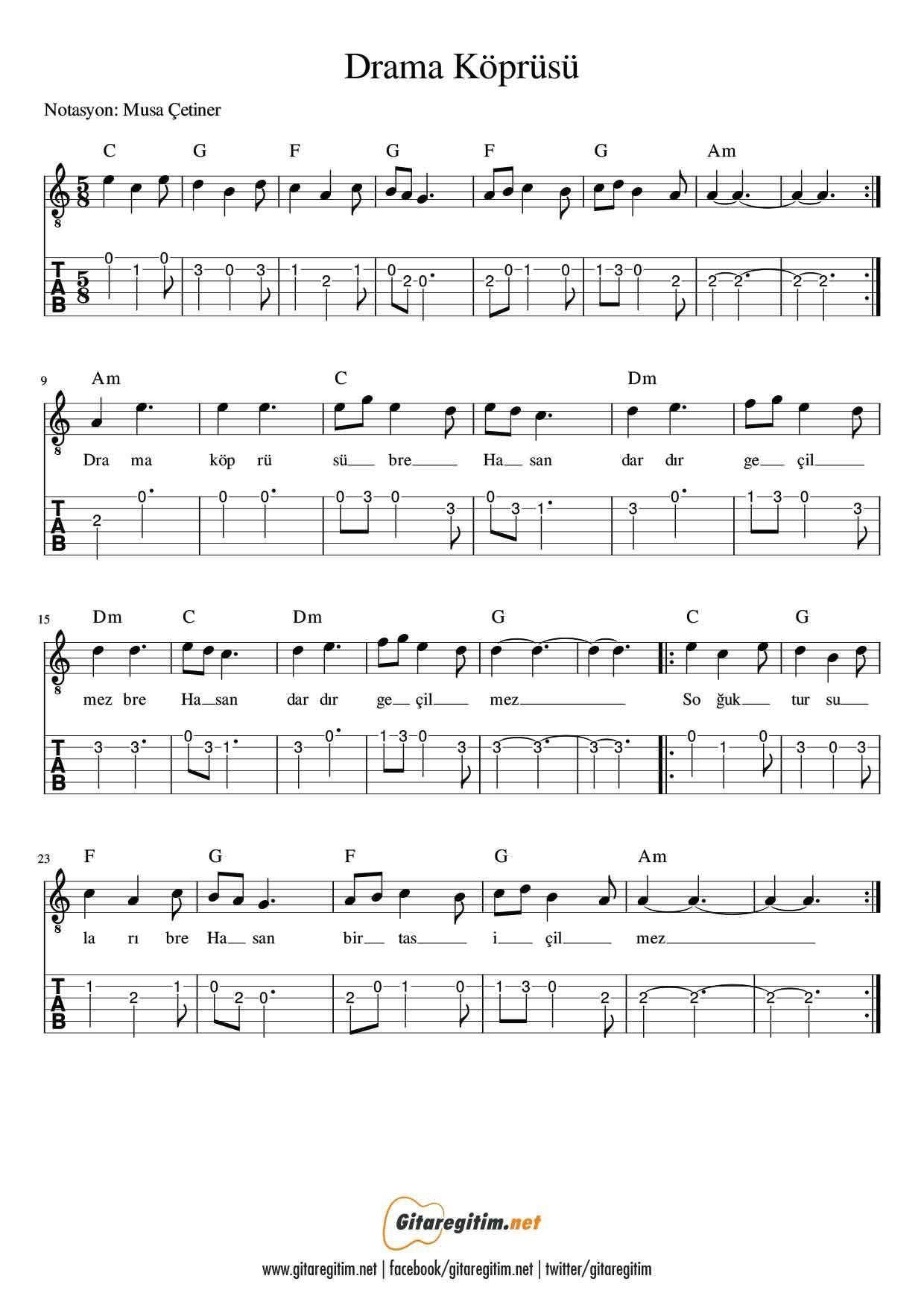Drama Koprusu Nota Tab Guitar Gitar Nota Tab Score Music Muzik Musique Drama Koprusu Nota Tab Musik Drama K Drama