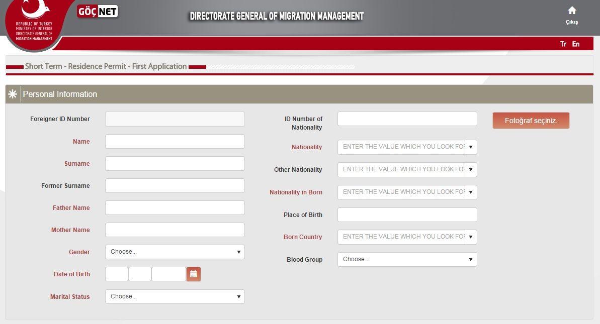 Turkish Residency Online Application https//eikamet.goc