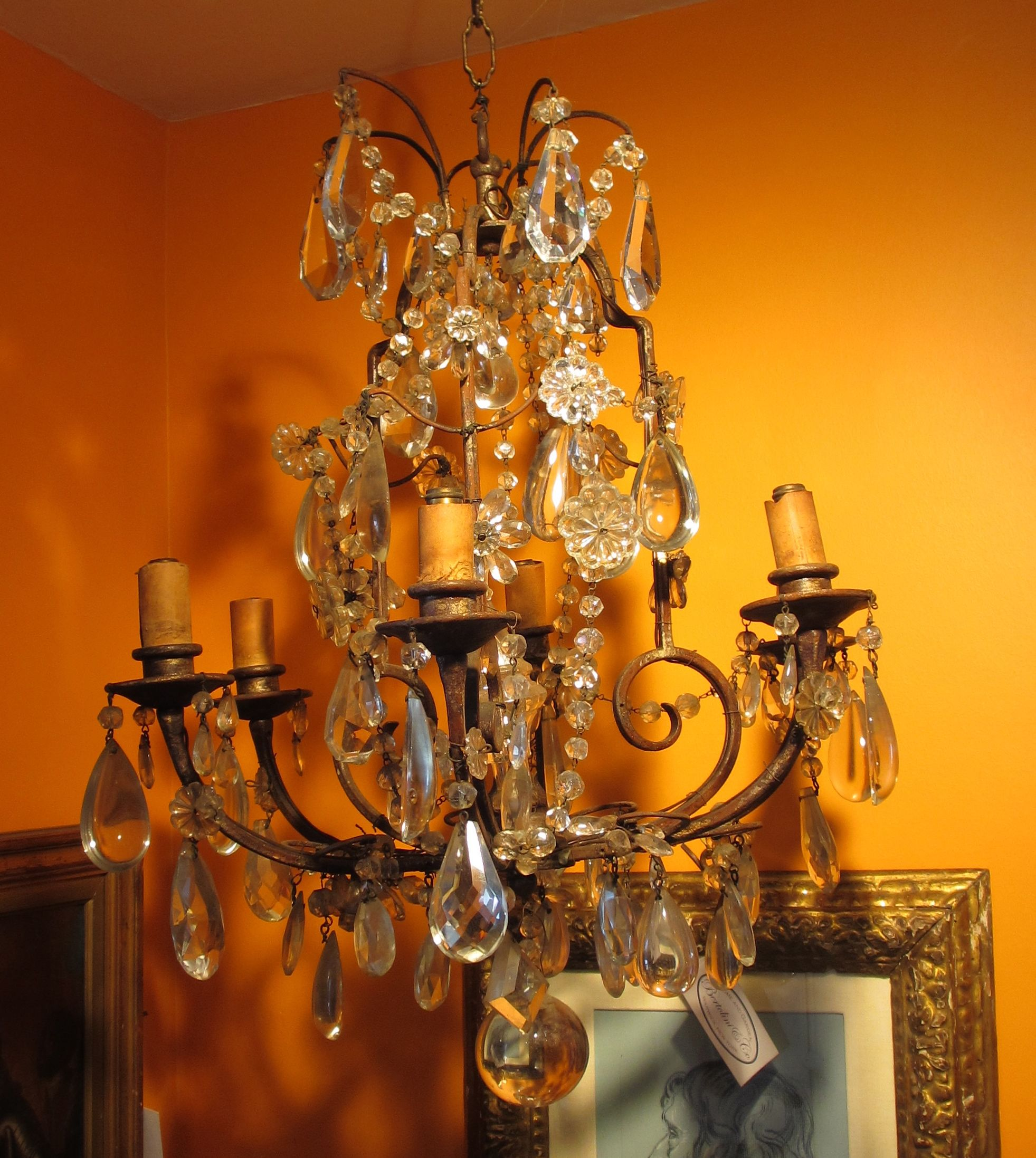 chandelier chandeliers vintage antique gasolier frosted crystal sale arm product for appleton lighting