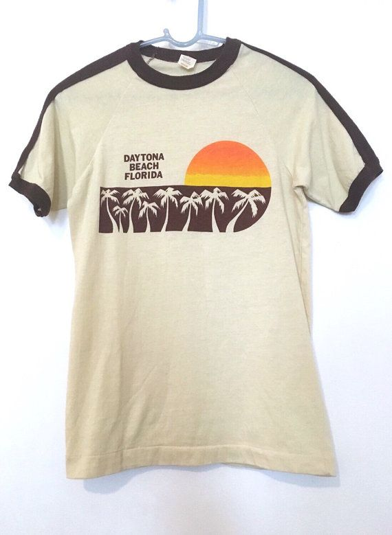 Vintage 70s Daytona Beach Ringer Mint Beach T Shirts