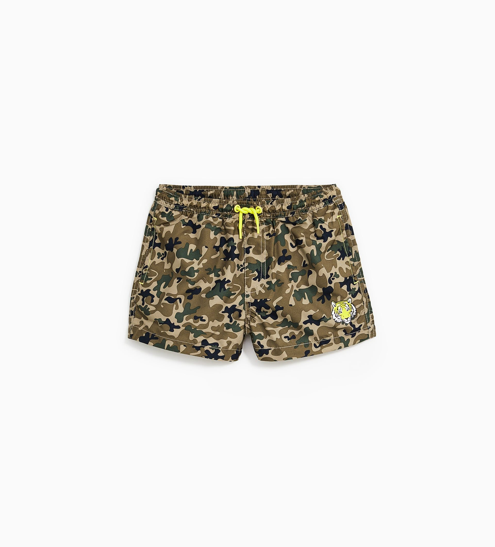 Image 1 Of Camouflage Bermuda Swimming Trunks With Tiger
