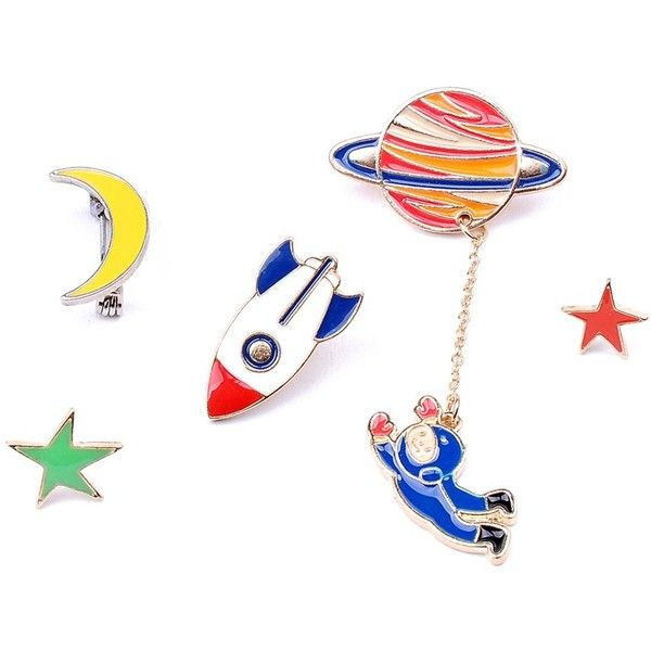 Star Moon Rocket Spaceman Brooch Set (€3,45) ❤ liked on Polyvore featuring jewelry, brooches, star jewelry and star brooch