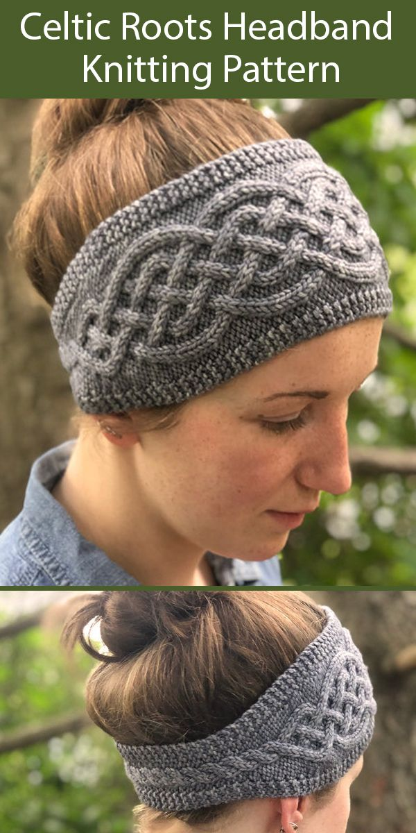 Knitting Pattern for Celtic Roots Headband for 76-84 yds (70-77 m) worsted weight yarn