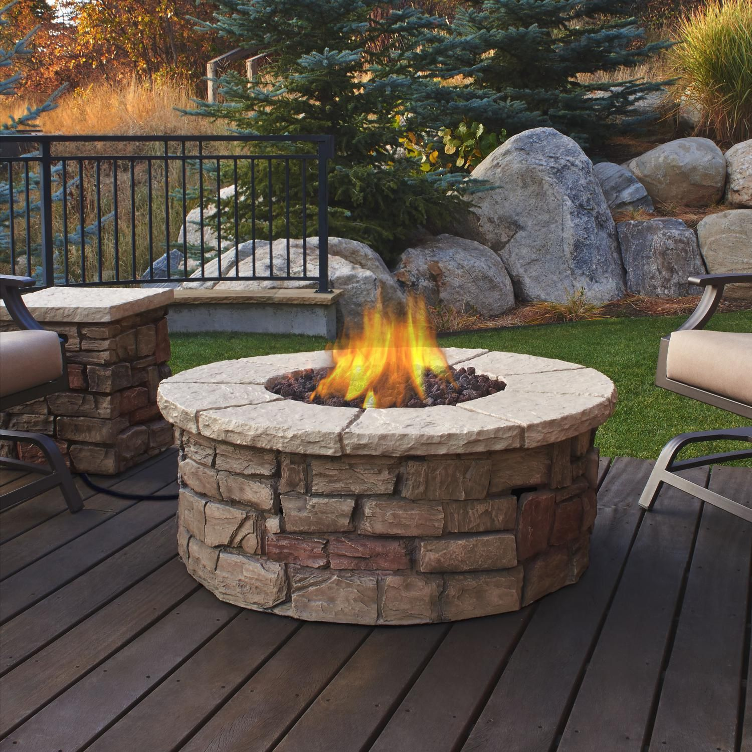 Real Flame Sedona 43 Inch Round Fire Table Fiber Cast