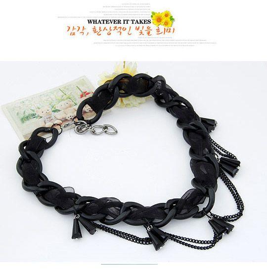 Flamenco Black Chains Decorated Simple Design Alloy Korean Necklaces ,Korean Necklaces