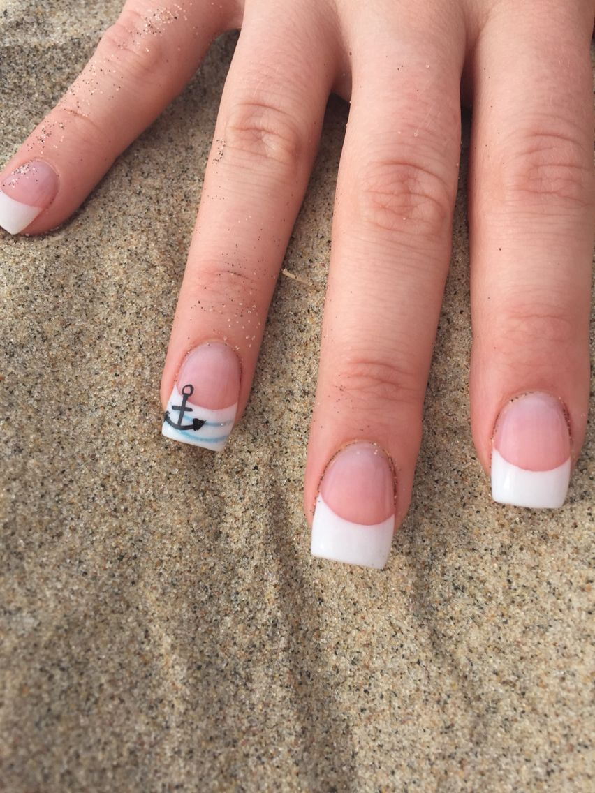 My Summer Beachy Nails! Gel Pink and White French Manicure with a ...