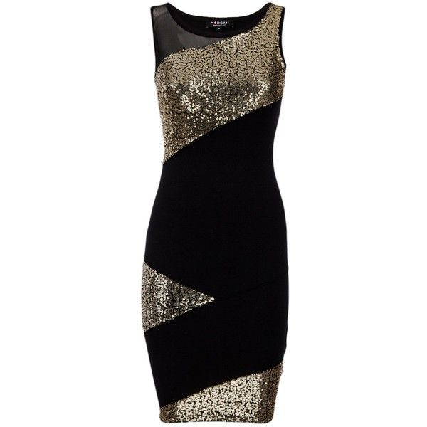 Morgan Golden Sequin Dress (€67) ❤ liked on Polyvore featuring dresses, black, women, sequin dresses, fitted dresses, sheer dress, sheer bodycon dress and sequin cocktail dresses