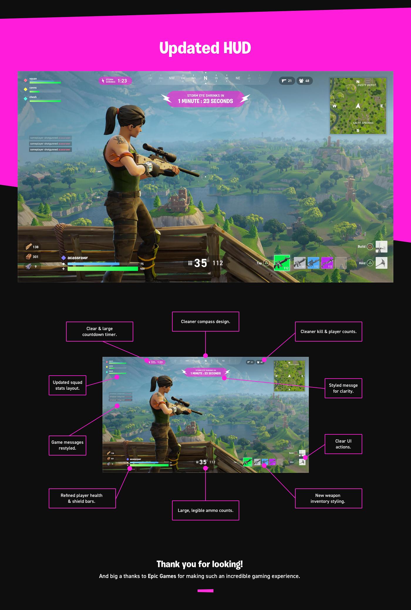 Fortnite Battle Royale PS4 Conceptual HUD Redesign on